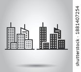 building icon in flat style.... | Shutterstock .eps vector #1881407254