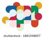 happy new year 2021. colorful... | Shutterstock .eps vector #1881548857