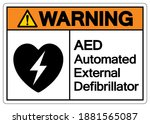 warning aed automated external... | Shutterstock .eps vector #1881565087