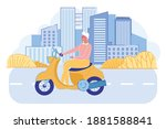 cheerful senior lady driving... | Shutterstock .eps vector #1881588841
