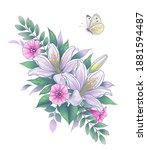 hand drawn bunch with white... | Shutterstock .eps vector #1881594487