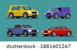 four different cars van  pickup ... | Shutterstock .eps vector #1881601267