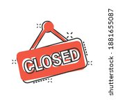 closed sign icon in comic style.... | Shutterstock .eps vector #1881655087