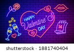 neon valentines day card or...   Shutterstock .eps vector #1881740404