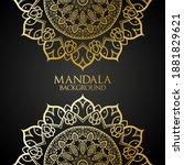 mandala background with golden  ... | Shutterstock .eps vector #1881829621
