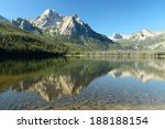 Trees and a mountain vista reflecting in the waters of Beautiful Redfish Lake in central Idaho