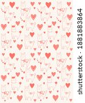 pattern with alpacas and hearts ... | Shutterstock . vector #1881883864