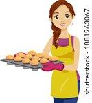 illustration of a teenage girl... | Shutterstock .eps vector #1881963067