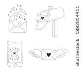romantic doodle set of...   Shutterstock .eps vector #1882054411