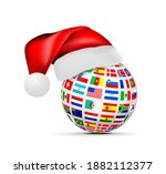 a sphere of national flags in a ... | Shutterstock . vector #1882112377