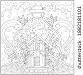 fantasy house inside the bottle ...   Shutterstock .eps vector #1882181101