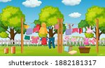 many clothes hanging on a line... | Shutterstock .eps vector #1882181317