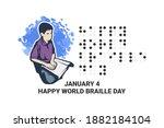 january 4. happy world braille... | Shutterstock .eps vector #1882184104