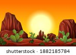 Desert With Rock Mountains And...