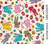 background with easter bunnies... | Shutterstock . vector #188220635