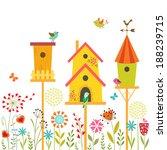 cute illustration with bird... | Shutterstock .eps vector #188239715