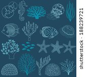 Collection of design elements: corals, fishes,  jellyfishes, sea horse and sea stars. - stock vector