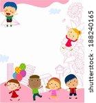 happy children and frame | Shutterstock .eps vector #188240165
