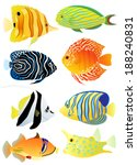 Collection of colorful tropical fish. Vector illustration. - stock vector