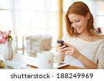 image of young female reading...   Shutterstock . vector #188249969