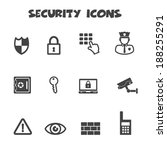security icons, mono vector symbols