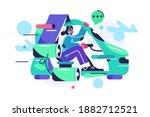 the girl flies in the flying... | Shutterstock .eps vector #1882712521