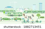 ecological city with electric... | Shutterstock .eps vector #1882713451
