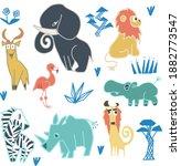cool  colorful savanna animals...   Shutterstock .eps vector #1882773547