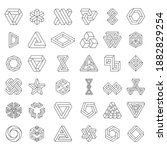 impossible shapes line art.... | Shutterstock .eps vector #1882829254