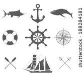 Vector Set Of Decorative  Sea...