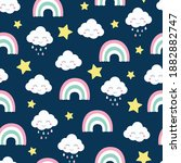 clouds rainbow and strars... | Shutterstock .eps vector #1882882747