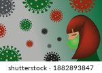a sad masked girl suffers from... | Shutterstock .eps vector #1882893847