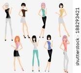 eight fashion girls  | Shutterstock .eps vector #188293421