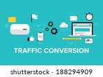 Flat design modern vector illustration concept of the website traffic conversion growth, webpage search engine optimization, web site analyzing and content development. Isolated on stylish background