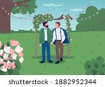 happy gay couple on wedding day ... | Shutterstock .eps vector #1882952344