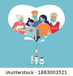 family vaccination concept... | Shutterstock .eps vector #1883003521