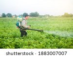 A Farmer With A Mist Sprayer...