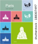 landmarks of paris. set of flat ... | Shutterstock .eps vector #188307497