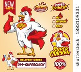 cartoon super hero chicken... | Shutterstock .eps vector #1883109331
