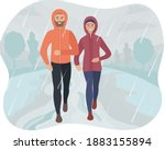 man and woman running in the...   Shutterstock .eps vector #1883155894