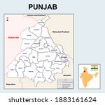 punjab map. political and... | Shutterstock .eps vector #1883161624