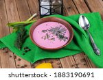 Small photo of Cold borscht beet soup . This soup probably originated in the Lithuania. In the summertime, cold borscht is a popular alternative to the aforementioned variants.