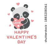 hand drawn cute panda with a... | Shutterstock .eps vector #1883208361