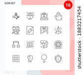 pictogram set of 16 simple... | Shutterstock .eps vector #1883217454