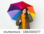 Young Woman Holding An Umbrella ...