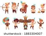 kids in native indian costumes... | Shutterstock .eps vector #1883304007