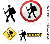 Vector icon set showing a man hiking carrying a backpack and a stick