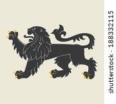 black heraldic lion. vector...