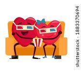 cute cartoon hearts couple in...   Shutterstock .eps vector #1883370694