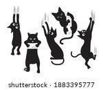 set of black cats scratching... | Shutterstock .eps vector #1883395777